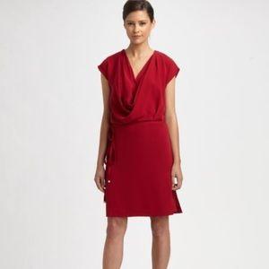 DVF red drape neck 100% silk dress